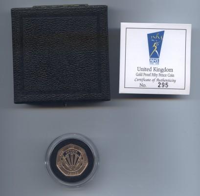 1998 gold nhs 50 pence rev