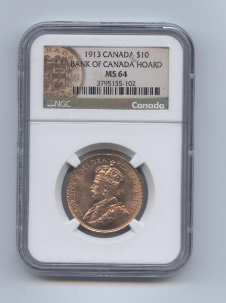 Canada 1913 ten dollar ngc 63 obv
