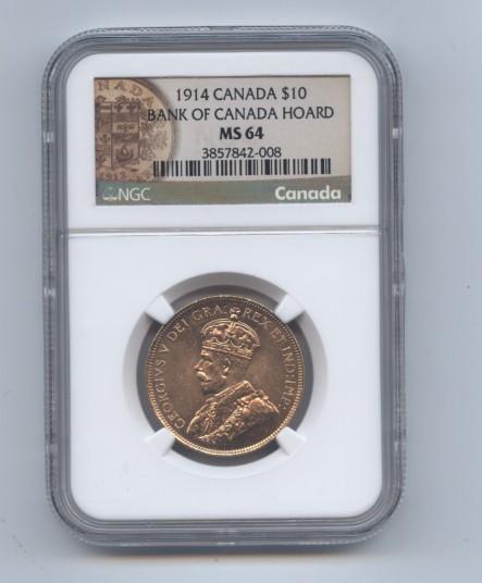 Canada 1914 ten dollar ngc 64 obv