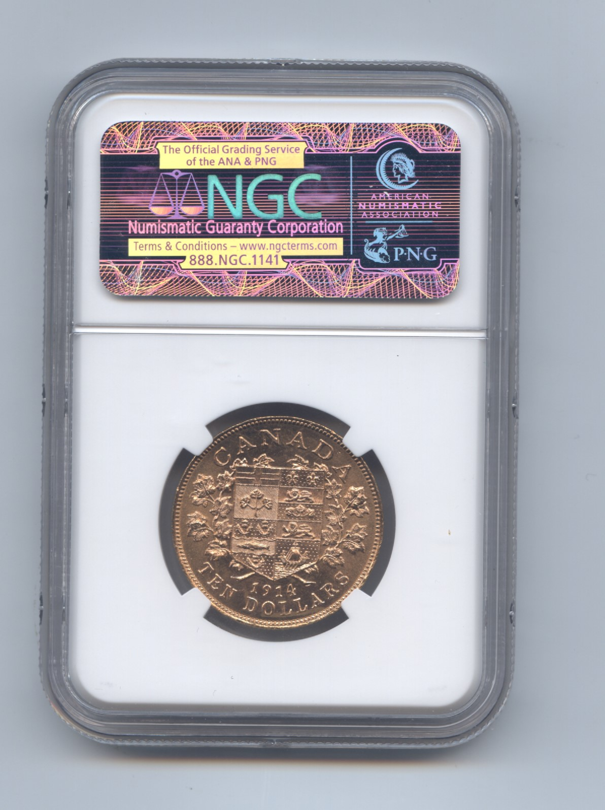 Canada 1914 ten dollar ngc 64 rev